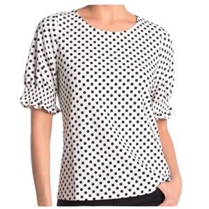 Adrianna Papell White Top with Black Polka Dots Textured Short Sleeve Top NWOT